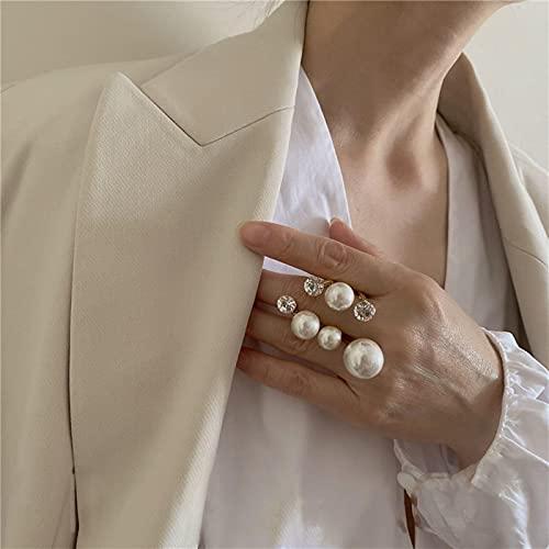 Nicey Elegante Retro Anillos de Perlas Multi de Gran tamaño para Las Mujeres Lady Lady Shiny Crystal Rhinestone Charm Irregular Anillo Joyería de Boda Coreana