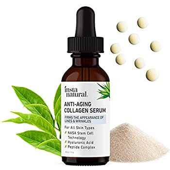 Anti Aging Peptide Complex Collagen Facial Serum - Reduces Signs of Lines & Wrinkles - Lift Firm & Plump Skin With Hyaluronic Acid Niacinamide NASA Stem Cell Technology - InstaNatural - 1 oz