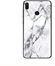 Honor Play Case,Marble Clear Tempered Glass Case Soft Silicone Phone Cover Case Compatible for Honor Play-White