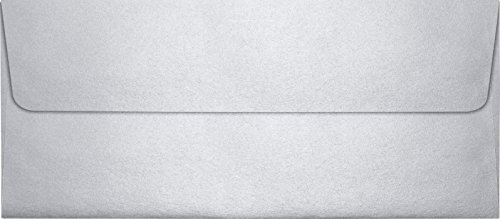 LUXPaper #10 Square Flap Envelopes in 80 lb. Silver Metallic, Printable Business Envelopes for Corporate Letters and Legal Documents with Peel and Press, 50 Pack, Envelope Size 4 1/8 x 9 1/2 (Silver)
