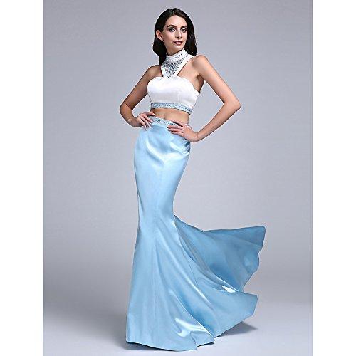 kekafu Mermaid/Trompete hoher Kragen Sweep/Pinsel Zug Stretch Satin Prom Formale Abendkleid mit Perlenstickerei von TS, Regenbogen, US22W/UK 26 / EU 52 (+ USD $ 9,99), Weiß, Rubinrot