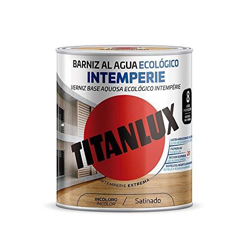 Titanlux - Barniz al Agua Ecológico Satinado Intemperie (250 ml, Incoloro 1000)