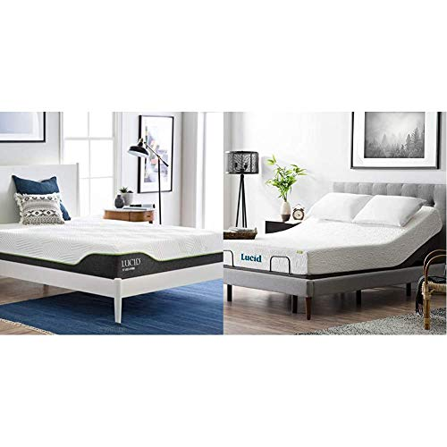 LUCID 10-Inch Latex Hybrid Mattress - King & L300 Bed Base 5 Minute Assembly Adjustable, Twin XL, Charcoal