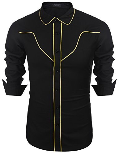 Coofandy Men's Casual Long Sleeve Contrast Button Down Slim Fit Shirt Yellow X Large
