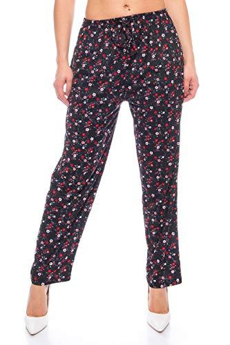 Crazy Age Pantalones largos para mujer, estampados, pantalones de verano, pantalones de yoga, estilo con cintura elástica, pantalones para la compra, pantalones de flores, flores