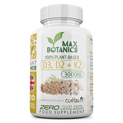 Vitamin D3, D2 & K2   3000IU   120 Capsules   100% Plant-Based   No Additives   UK Made   GMP (120 Capsule Bottle)
