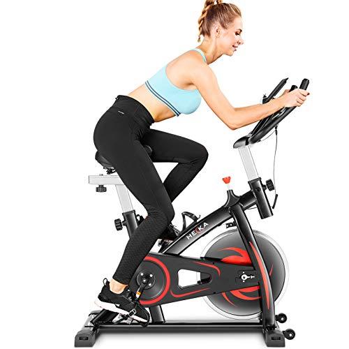 HEKA Bicicleta Estática de Casa para Entrenamiento Indoor, Bicicleta Spinning Profesional, Resistencia Variable, Altura Ajustable, Pantalla LCD (Tener APP, Negro)