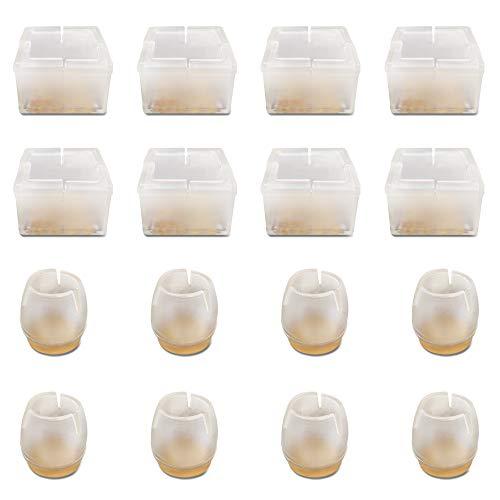 SourceTon Stuhlbeinkappen, rund und eckig, Silikon, Bodenschutz, Möbel, Tischfüße, passend für runde Durchmesser 2,5 cm bis 3,5 cm und quadratische Länge 2,5 cm bis 3,5 cm