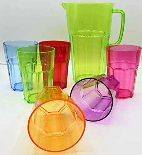 ML Pack 6 Vasos de 444ml de Colores y 1 Jarra de...