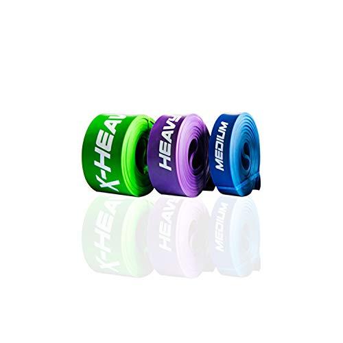 ActiveVikings® Pull-Up Fitnessbänder | Perfekt für Muskelaufbau und Crossfit Freeletics Calisthenics | Fitnessband Klimmzugbänder Widerstandsbänder (H - Pro Package (Blau Lila Grün))