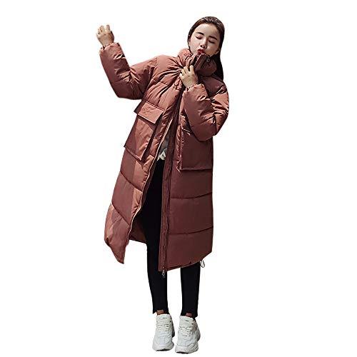FRAUIT Große größe Parka Damen Lose Winterjacke Warmer Mantel-Standplatz-Hals-Dicker Jacken Einfarbig Oversize Daunenjacke Steppjacke Lange Zipper Kapuzenjacke Mode Elegant Coat