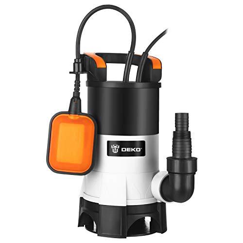 DEKOPRO Bomba de agua sumergible eléctrica de 400 W con interruptor de flotador y flujo máximo de 8000L / H para riego de piscinas, bañeras y jardines