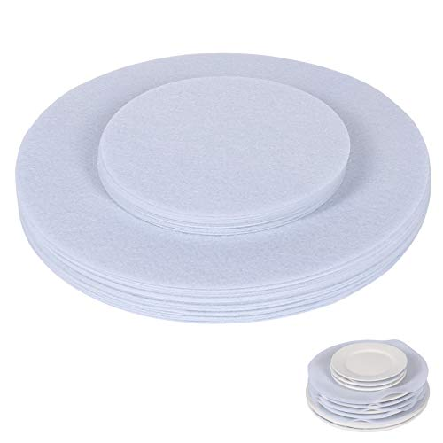 Felt Plate Dividers, 30 Pieces & 2 Different Size, Plate Separators Pads/China Storage Dividers Protectors/Dish Protectors Pads for Protecting and Stacking Your Cookware