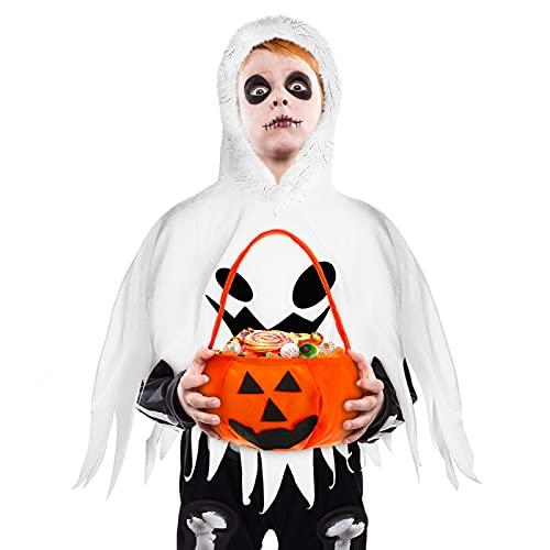 Costume di Halloween da Fantasma per Bambini con Mantello da Fantasma Bianco di Halloween e Sacchetto di Caramelle Fantasma per Bambini Piccoli