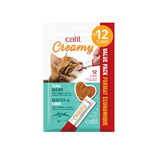 of catit cat foods dec 2021 theres one clear winner Catit Creamy Lickable Cat Treat, Tuna, 12 Pack, 44444,White,Large