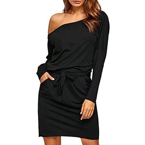 Kleid Damen Kolylong®Frauen Reizvoller Aus Schulter Kleid Herbst Elegant Langarm Kleid Cocktail Partykleid Minikleid Abendkleid Bluse (M, Schwarz)