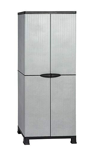 BJYX 2 x Kunststoffschrank Gartenschrank Haushaltsschrank Rattan-Design