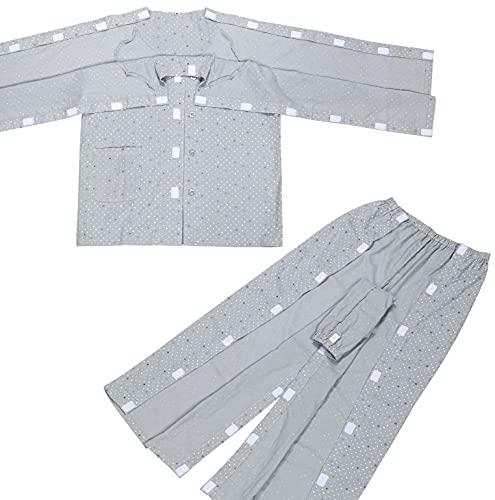 COSMOS_K お世話しやすい機能的介護パジャマ 介護ねまき メンズ 男性用 紳士 サッと開閉! ラグラン袖で動きやすい マジックテープ 上下セット 方形水玉柄 グレー 灰色 (XLサイズ)