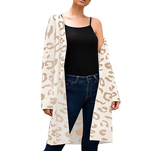 Buy Discount Women Leopard Long Cardigan Sweater Lightweight Long Sleeve Open Front Knit Sweater Cas...