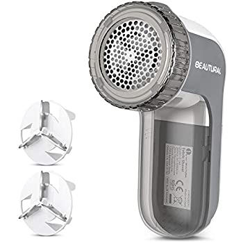 BEAUTURAL Fabric Shaver and Lint Remover Sweater Defuzzer with 2-Speeds 2 Replaceable Stainless Steel Blades Battery Operated Remove Clothes Fuzz Lint Balls Pills Bobbles