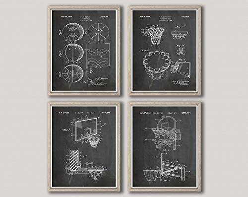 Basketball Poster 4er Set Basketball Drucke Basketball Wall Art NBA Poster NBA Druck NBA Basketball Mom Basketball Coach, Kreidetafel schwarz, 23.4 x 33.1 (A1)