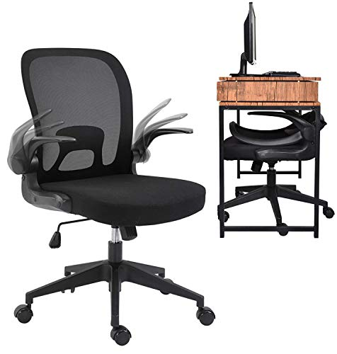 URRED Ergonomic Office Chair Mesh with Foldable Backrest, Mesh Home Office Computer Task Desk Chairs with Adjustable Arms and 360 Degree Universal Wheels (Black)