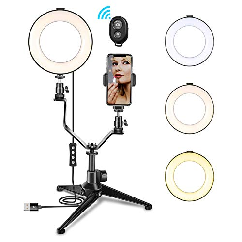 LING AI DA MAI 10-inch LED Ring Light with Tripod and Phone Stand,-dimmable self-Timer Ring Light LED Camera Ring Light with 3 Lighting Modes and 11 Brightness Level Desktop LED Lights