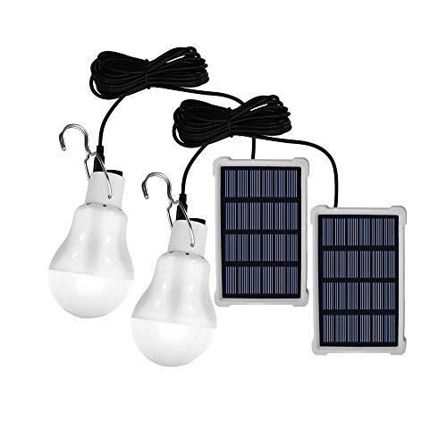 Bombilla LED de cobertizo con energía solar, 2 unidades de sensor de luz portátil USB de carga linterna interior para actividades al aire libre senderismo tienda de campaña de pesca iluminación