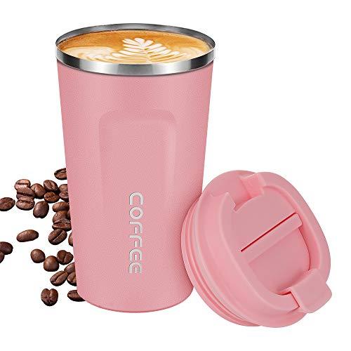 noma Thermobecher Kaffeebecher Für Unterwegs Coffee to Go 500 ml 100% Auslaufsicher aus Edelstahl mit Doppelwand Isolierung | BPA Freier Travel Mug für Kaffee Oder Tee (Pink,)
