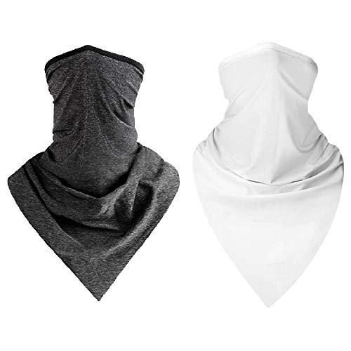 CXZC Bufanda de Seda con protección Solar (2 Paquetes, Gris Oscuro + Azul) - Polaina Unisex para el Cuello, Cubre-Espaldas sin Costuras, pasamontañas, pañuelos para Deportes al Aire Libre.