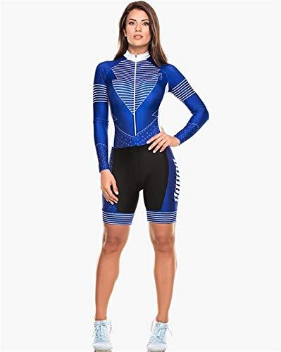 ZNQPLF con La Manga De Ciclo De Jersey Skinsuit Mono Ciclo Largo del Gel del Sistema Cojín De Ciclo Traje Triatlon De La Mujer 145 (Color : 3, Size : Medium)