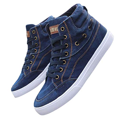 Veodhekai Women Flat Shoes Denim Canvas Shoes High-Top Sneakers Students Lace-Up Single Shoes Breathable Male Footwear Work