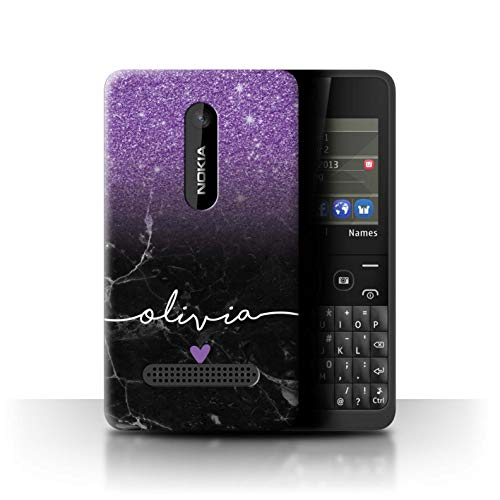Personalisiert Hülle Für Nokia Asha 210 Handschrift Glitter Ombre Lila FunkeIn Schwarz Marmor Design Transparent Ultra Dünn Klar Hart Schutz Handyhülle Case