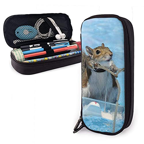 XCNGG Kosmetiktasche mit Federmäppchen Pencil CaseBig Capacity with Double Zipper Pen Holder for School/Office - Squirrel On The Waterskiing