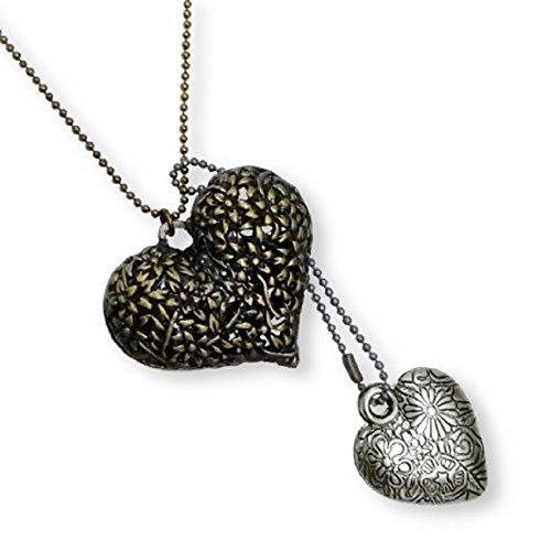 De largo con cuentas de collar del encanto del corazón colgantes