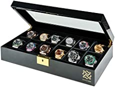 Hawk & Gable Pearson Premium 12 Slot Watch Box Organizer for Men with Gold Lock and Glass Display | Watch Case for Men's Jewelry Accessories | Black Piano Finish - Fits Large Watches