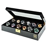 HAWK & GABLE Pearson Premium Watch Box with Gold Lock and Glass Display   Black Piano Finish Watches Case