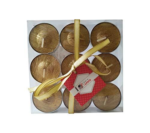 D'Aurora Era Tea Light Set 9 Pieces Gold, Wax, 29 x 29 x 2.2000000000000002 cm