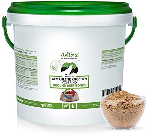 AniForte gemahlene Knochen bekannt als Fleischknochenmehl für Hunde und Katzen 2 kg - Natürliches Calcium für Knochenaufbau & Gelenke, Reines Knochenmehl vom Rind als Futter & Barf Ergänzung