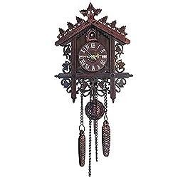 Leoduo Cuckoo Clocks Black Forest Wooden Cuckoo Clock. Black Forest Hand-Carved Cuckoo Clock House Home Decor. (Black)