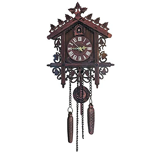 AVANI EXCHANGE Reloj de Pared Colgante Artesanía Reloj de Pared Decoración Arte Vintage Bird Swing Wood Clock