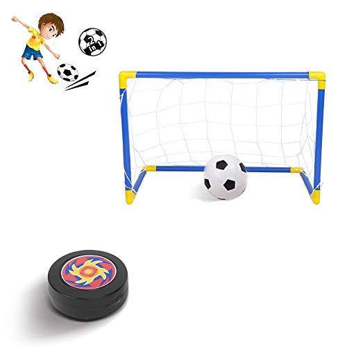 Alomejor Kinder Spielzeug Hover Ball Fußball Spielzeug Set 2-in-1 Fußball Tor Net mit 2 Tore EIN Aufblasbarer Ball Eishockey Puck Set Indoor Outdoor Sport Ball Spiel für Kinder