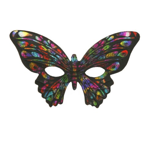 Forum Mardi Gras Costume Masquerade Half Mask Rainbow Butterfly, Multi-Colored, One Size