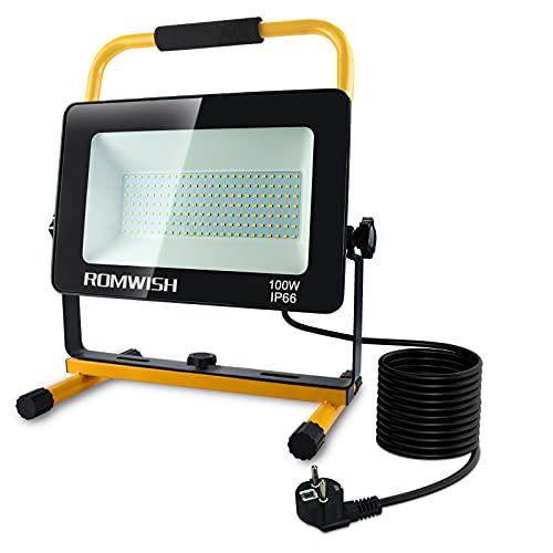 100W 10000LM Spots Projecteur LED Chantier Extérieur,Romwish 5000K ,2 Modes de Luminosité Réglables,Etanche IP66,Lampe Projecteur LED portable pour les ateliers, les garages, les sites de construction