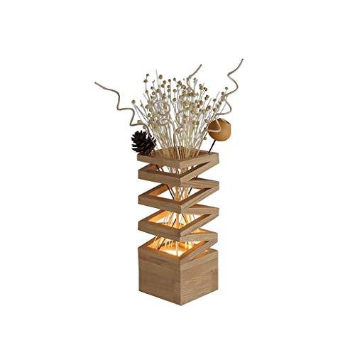SPNEC Madera lámpara de Mesa, lámpara de Mesa de Madera decoración de la Tabla Lámparas LED Fuente romántico Dormitorio de Noche Sala de Estar Estudio de iluminación