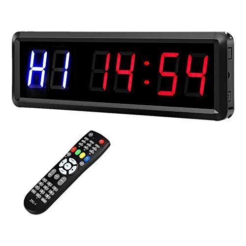 Fransande - Intervalo de LED de 1,5 pulgadas, 6 dígitos, temporizador de entrada, para gimnasio, cuenta atrás y cronómetro, temporizador con control para la toma de fitness en casa de la UE