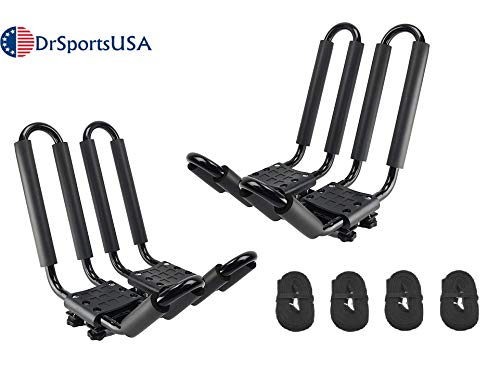 DrSportsUSA 2 Pairs Universal J-Bar Kayak Rack Roof Top Carrier for Kayak Canoe Paddle Boat Mounted on Car SUV (ky-01(2))