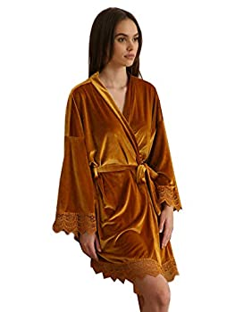 owiter Women Velvet Robes Soft Fuzzy Kimono Bathrobe for Women Bridal Wedding Sleepwear  yellow one size