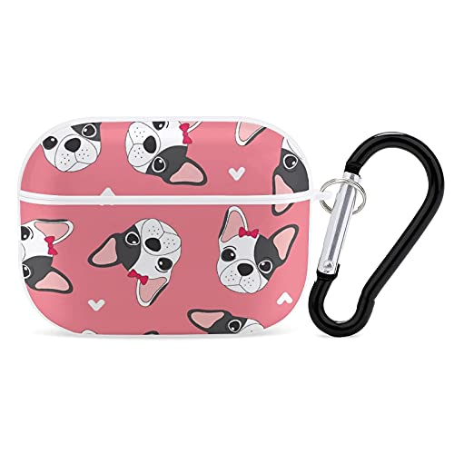 Cute French Bulldog PC Case Cover for AirPods Pro, Protective Anti-Scratch Case Cover with Keychain