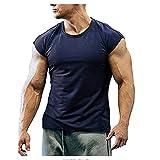 Musculosa Shirt Hombre Verano Básica Cuello Redondo Color Sólido Hombre T-Shirt Cómodo Transpirable Manga Corta Ajustado Elástica Ligera Wicking Hombre Casuales Camisa F-Blue 1 XL